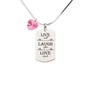 Pink Box Inspirational Tag Necklace with Crystal from Swarovski - Live Laugh Love