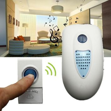 Mini Portable LED Wireless Wall Charger Chime Home Security Door Bell Doorbell Remote Control Musical 38 Tune Songs High Quality