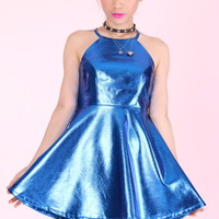 Glitters For Dinner — Made To Order - Betty Halter Dress in Blue Metallic