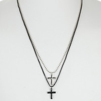 Mixed Metal Cross Necklace - Mens Jewelry - Men's Accessories - TOPMAN USA