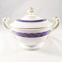 Vintage Sugar Bowl, White, Blue And Gold Accents, LIGO YADA CHINA, Made In Japan, 1950's, Mid-Century, Home Decor, Buffet, Kitchen, Dining