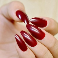 Shiny Full Wrap Fake Nails Red Wine Cool STILETTO Acrylic Nail Tips Easily DIY Material Fashion Nail 205P