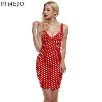 FINEJO Vintage Sexy Women Dress lady Elegant Deep V-Neck Sleeveless red Polka Dot Slim Bodycon party mini Dress plus size S-XXL