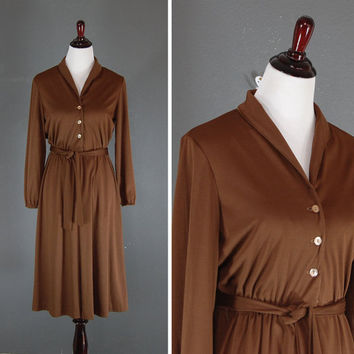 Vintage Brown Dress / Pleated Belted Midi / Medium Large