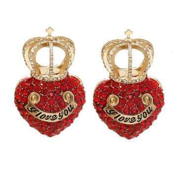 Heart with Crown Earrings - Red / Gold