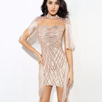 Sexy Gold High Collar Geometric Pattern Sequins Mesh Fringed Dress
