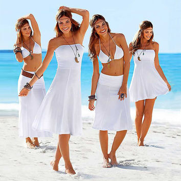 Free shipping sexy women beach cover up robe de plage swimwear women bikini pareo swimsuit cover up femme beach wear dress Q79