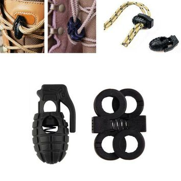 DCCK7N3 Shoelace Shoe Lace Grenade Buckle Stopper Rope Clamp Paracord Lock Camp Hike Outdoor Survive Cord Clip