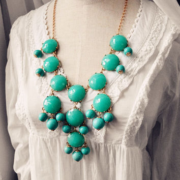 J Crew Bubble Necklace Inspired Faceted Turquoise Aqua Bubble Statement Bib Necklace