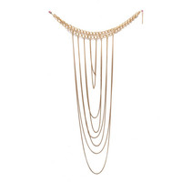Gold Plated Multilayer Tassel Statement Necklace Body Chain Jewelry