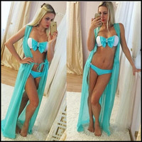 Solid  Summer Women Sexy Swimsuit Cover Up Chiffon Plus Size Swimwear Bikini Cover Ups  Dress Long Beach Cover Up
