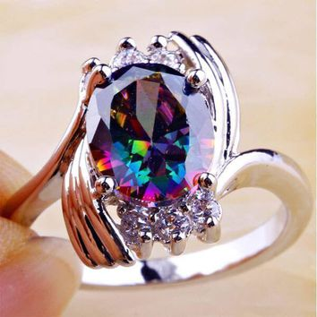 Claddagh Rainbow & White Topaz Women Gemstone Silver Ring