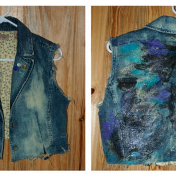 Denim Cropped Jacket with Bleach Stains, Studs, Buttons, and Galaxy Paint
