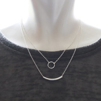 Double strand necklace, Silver bar necklace, Sterling silver double necklace, Layering necklace, Two Tier necklace, Multi strands necklace