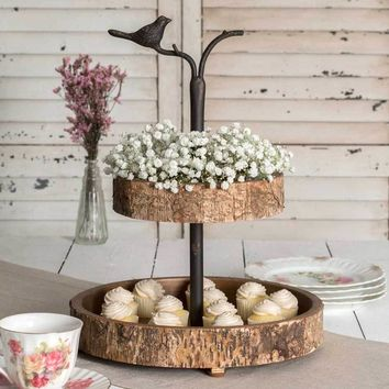 Rustic Bird and Birch Two Tiered Tray