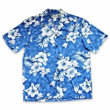 Flower Power Blue Hawaiian Cotton Shirt
