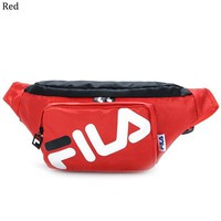 FILA street fashion men and women models printed letters sports casual Messenger bag pockets