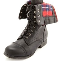 Zip-Back Fold-Over Combat Boot by Charlotte Russe - Black