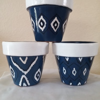 clay pot, hand painted pots, moroccan inspired,ikat design,set of 3 clay pot, flower pot, decorative pots, bathroom decor, livingroom decor