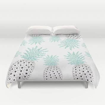 Pineapple Pattern Duvet Cover by ES Creative Designs