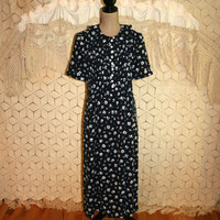 Vintage 90s Day Dress Navy Blue Floral Grunge Dress Short Sleeve Dress Casual Dress Floral Print Elaine Seinfeld Medium Womens Clothing
