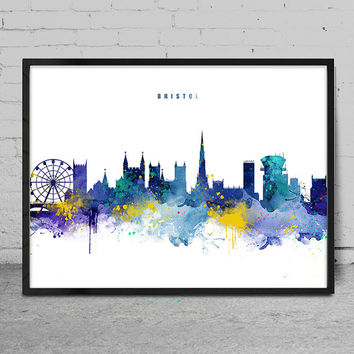Bristol Skyline, England Citys Skyline, Watercolor ArtPrint, Bristol Wall Art, Bristol poster, Cityscape, City Wall art, Artwork -x134