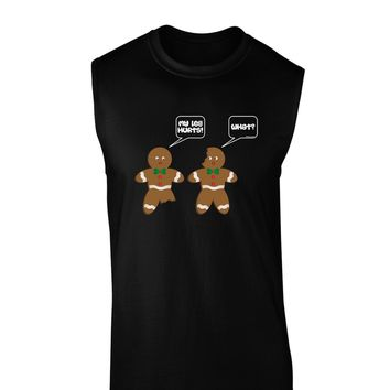 funny gingerbread conversation christmas dark muscle shirt