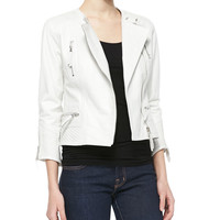 Women's 3/4-Sleeve Leather Moto Jacket - LaMarque - White