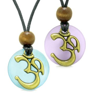 Ancient OM Tibetan Amulets Love Couples Yin Yang Powers Purple and Sky Blue Simulated Cats Eye Necklaces