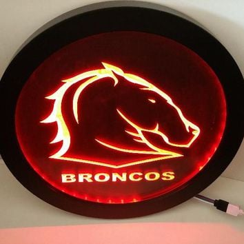 sp12 Brisbane Broncos RGB led MultiColor the wireless control beer bar pub club neon light sign Special gift