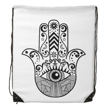 Hamsa Hand Black and White Backpack