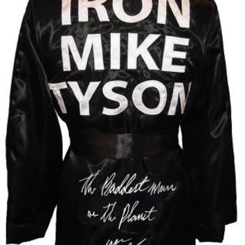 """Mike Tyson Signed Autographed """"The Baddest Man On The Planet"""" Iron Mike Tyson Boxing Robe (ASI COA)"""
