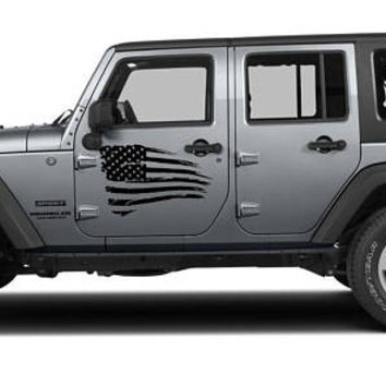 Jeep Wrangler Door Decal Tattered Distressed USA American Flag Made In The USA Thin Blue Red Line