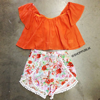 ORANGE OFF SHOULDER BOHO TOP
