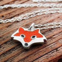 Red fox necklace  silver and concrete  tiny by lulubugjewelry