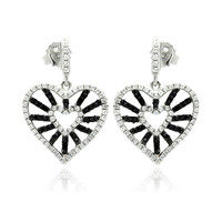Sterling Silver Micro Pave Open Heart Earrings
