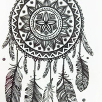 2016 NEW 10x6cm Temporary Small Fashion Tattoo Black bar And Feather Dreamcatcher