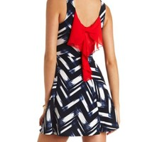 BOW-BACK ABSTRACT CHEVRON SKATER DRESS