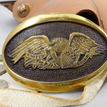 1976 American Eagle Brass Buckle, Solid Brass Belt Buckle, By Heritage Mint Registered Collection