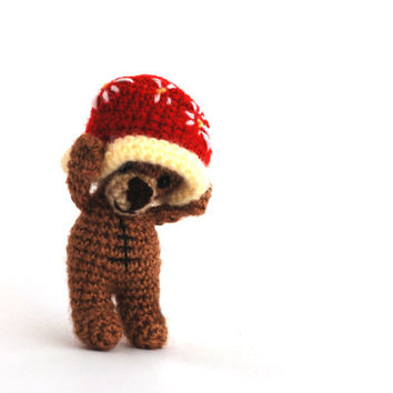teddy bear, tiny bear having a big red hat, bear doll, amigurumi bear, little bear, funny gift, artist bear