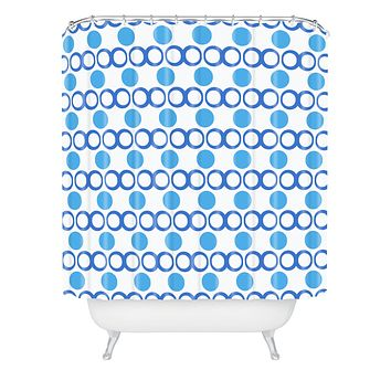 Lisa Argyropoulos Retrocity In Blue Sky Shower Curtain