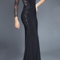 Black Label Couture 28 One Sleeve Lace Illusion Formal Dress