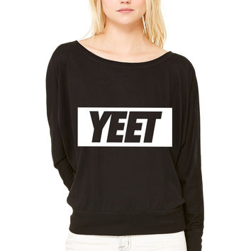 Yeet WOMEN'S FLOWY LONG SLEEVE OFF SHOULDER TEE