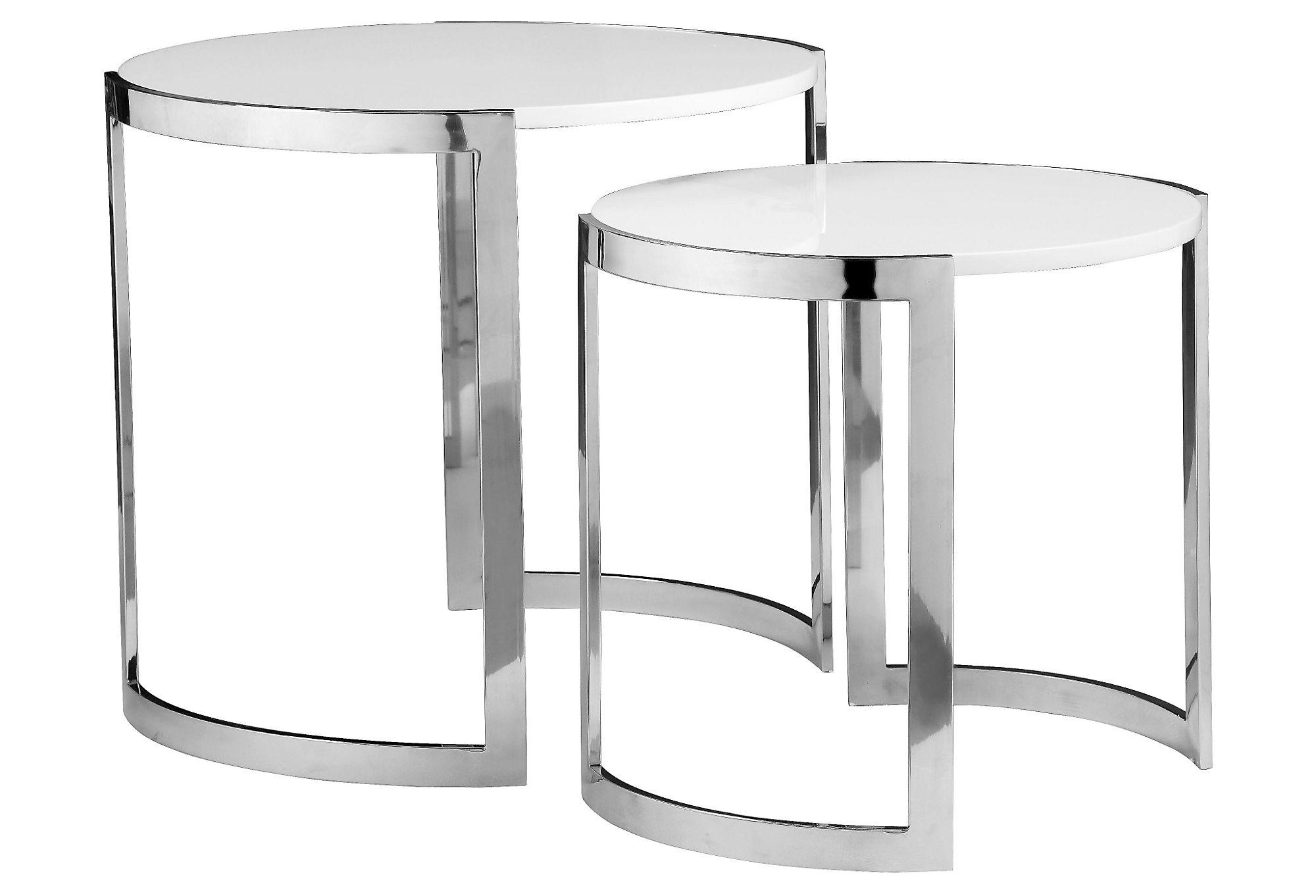 Orion Kids Nesting Side Tables White From One Kings Lane. Full resolution  image, nominally Width 2000 Height 1362 pixels, image with #2F2F2F.