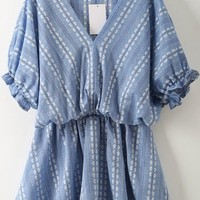 Blue Floral Ruffle V-neck Elbow Sleeve Sweet Mini Dress