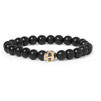 Luis Morais Black Diamond-Embellished Gold and Ebony Bead Bracelet | MR PORTER