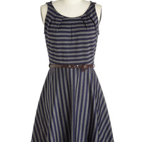 ModCloth Mid-length Sleeveless A-line C'mon Fete Happy Dress in Midnight