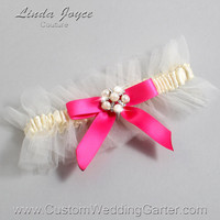 "Ivory and Hot Pink Tulle Wedding Garter Bridal Garter ""Natalie"" Silver 871 Ivory 175 Hot Magenta Prom Luxury Garter Plus Size & Queen Size"