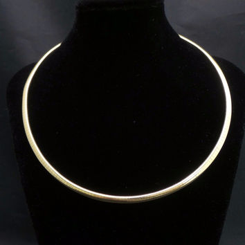 "Solid 14K Yellow Gold 4mm Omega Flexible Choker 16"" Italy Necklace"