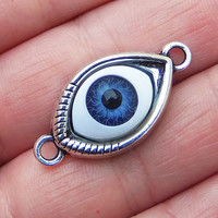 4 Blue eye connector charms with silver tone back ~ F261
